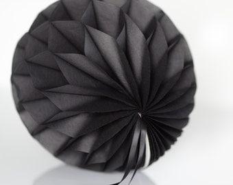 Black Tissue paper honeycomb ball -  hanging wedding party decorations - 35cm | 30cm | 25cm | 20cm | 15cm  |10cm
