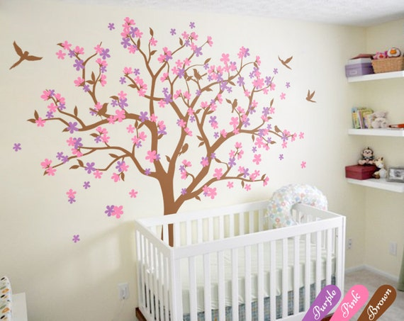 Huge tree wall decal cherry blossom wall art sticker colorful for Cherry tree wall mural
