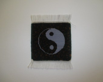 Yin yang handmade miniature rug, pictorial miniature rug, hand knotted