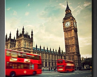 "Red Red Bus In Motion And Big Ben The Palace Of Westminster 24"" x 24"" x 1.5"""