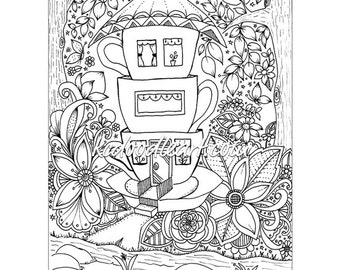instant digital download adult coloring page teacup houses
