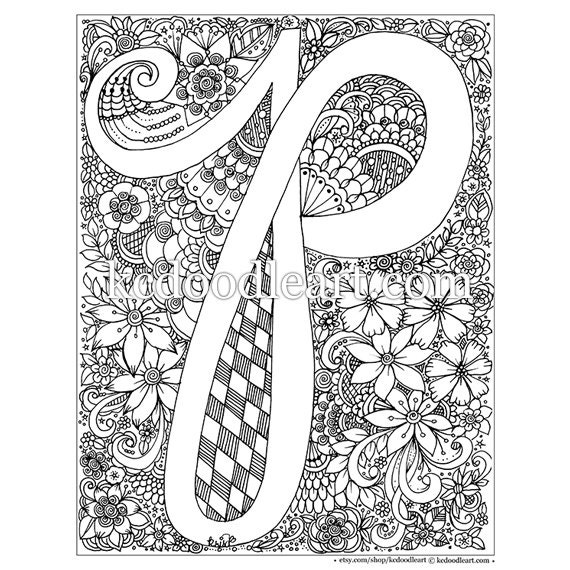 Instant digital download adult coloring page letter p for Letter p coloring pages