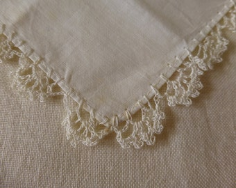 Vintage cream handkerchief with crochet edge