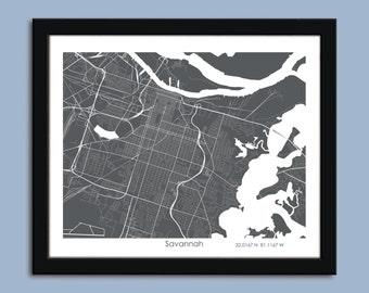 Savannah map, Savannah city map art, Savannah wall art poster, Savannah decorative map ZOOM View