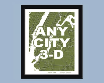 Three Dimensional Any city - City Map Art Print / Wall Art Poster  / Decorative map /  Choose your color