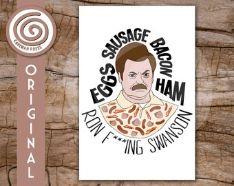 Ron Swanson - Parks and Recreation - Breakfast Foods - Custom Greeting Card - Birthday, Valentines, Graduation - Made to Order - Bacon