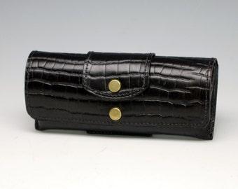 Hard leather eyeglass case - Black - Alligator embossed cowhide