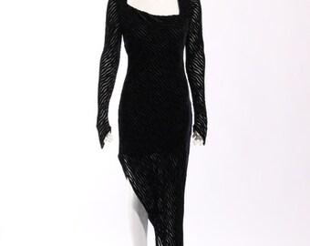 """1990s Karl Lagerfeld """"Burn-out"""" Asymmetrical Dress"""