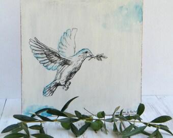 White dove wall decor - Black and white print on wood, Dove illustration print, Biblical wall art, Wood signs, Rosh Hashana
