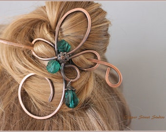 Hair Clip Sparkling Green/ Blue Beads, Hair Pin, Hair Slide, Copper Wire, Hair Stick, Hair Barrette Hair Accessories Women Gift Girlfriend