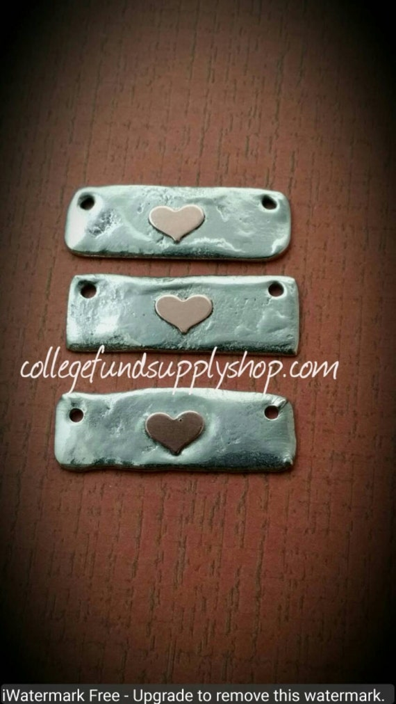 Custom listing of Rustic pewter bars with copper heart
