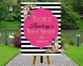 PRINTABLE Welcome Bridal Shower Poster, Welcome Poster, Rustic Wedding Printable, Black and White Striped Wedding, SpadeShowerS0100
