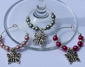 Butterfly wedding wine glass charms
