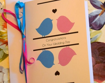 Bird Wedding Congratulations Greetings Card. Personalised. Love Birds Theme. Available A5 or A6