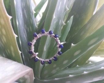 Unique Circular Gemstone Ring. Lapis Lazuli, Amethyst, White and Turquoise Magnesite