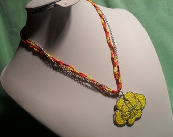Enchanting Seed Bead Flower Necklace, Brilliant Yellow