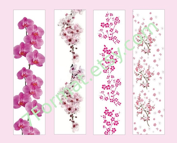 Kit of 4 Bookmarks 1.8 x 7 inches (4.5 x 17.7 cm), printable PDF, JPEG A4. flower bookmarks, bookmarks orchid, ornament flowers, cherries 36