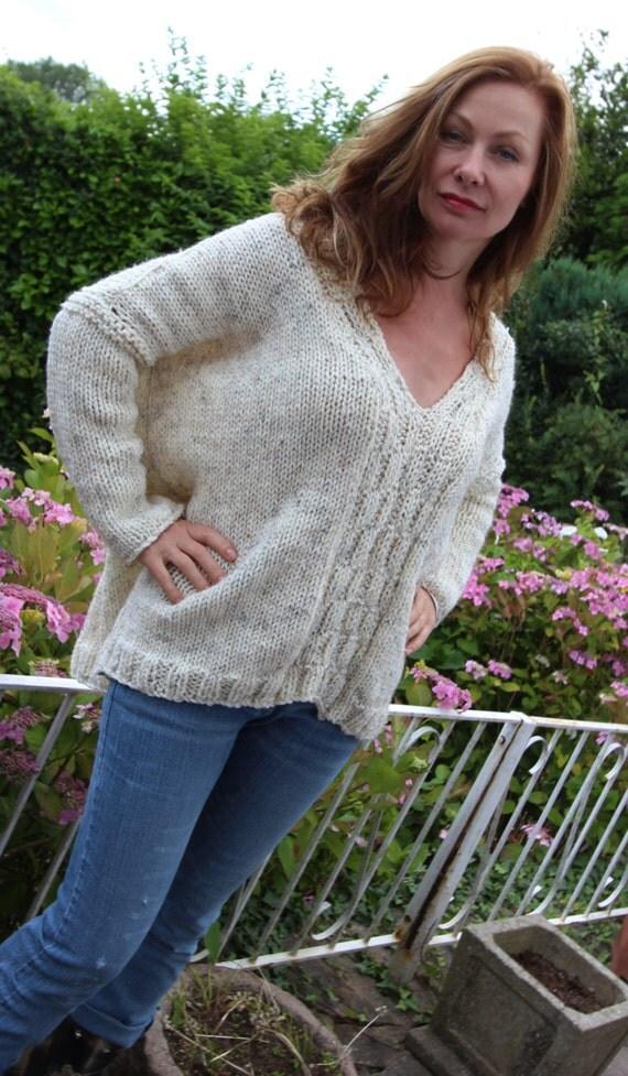 Easy Sloppy Jumper Knitting Pattern : Big Sloppy V Neck Sweater Hand Knitting Pattern from henioCreative on Etsy St...
