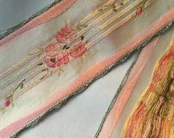 Vintage Jacquard, Vintage French Ribbon, Vintage Brocade Ribbon, French Brocade, Floral Brocade, Vintage Rayon Brocade, French Rayon Ribbon