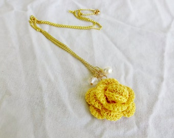 Yellow Rose Necklace - Unique Anniversary Gifts for Wife - Yellow Flower Necklace - 2nd Anniversary Gift Cotton - 4 Year Wedding Anniversary