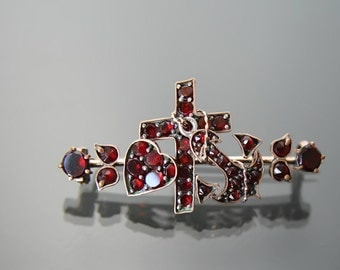 Victorian Love Hope Faith Bohemian Garnet Brooch.