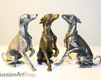 Italian greyhound Whippet Dog Miniature figurine statuette from the alloy of tin pewter (one piece)