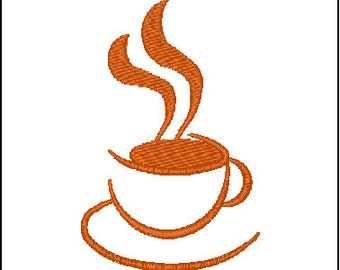 Steaming Coffee Cup Embroidery Design