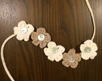 Crochet flower headband with button centers