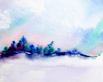 Abstract landscape watercolor painting, winter landscape painting, original watercolor painting, original landscape painting, nature art