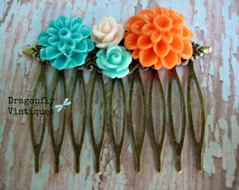 Floral Hair Comb, Orange, Turquoise, Cream