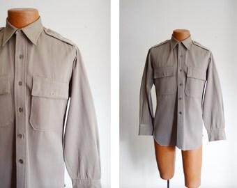 """40s Wool Gabardine Military Shirt - 43"""" Chest"""