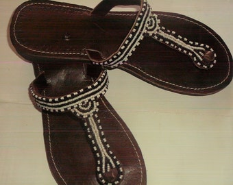 Cleopatra - African Handmade Beaded leather Sandals, Flip Flops, Thongs