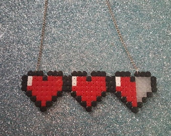 Legend of Zelda Heart container hama necklace