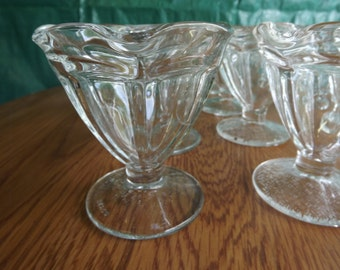 Lot of 8 Vintage Ice Fluted Footed Ice Cream Dishes