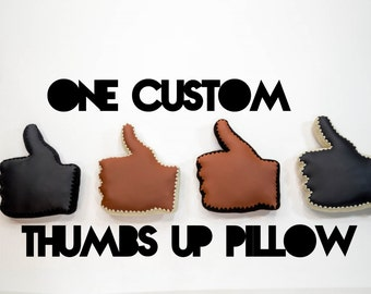 Thumbs Up Pillow, Crochet Edging & Faux Leather, One Made To Order