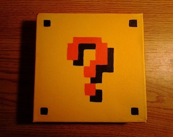 Super Mario Question Block Wall Canvas