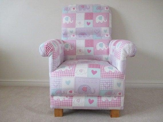 Fryetts Bobo Pink Fabric Adult Chair Elephants Gingham