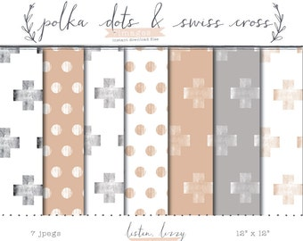 Peach + Grey Stamped Digital Paper Set // 7 Digital Papers // Instant Download