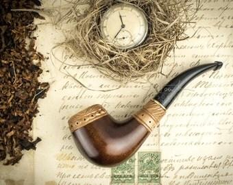 """Smoking Pipe """"Rus''. Wood carved smoking pipe. Tobacco Pipes. Wooden Pipe. Tobacco Bowl. Wooden Pipes."""