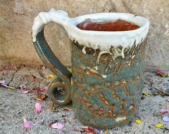 Handmade Rustic Primitive Woo Woo Glaze Snow Top Ceramic  Mug,  Coffee, Tea, Latte
