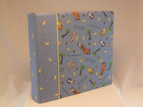 12x12 Postbound Fabric Scrapbook Photo Album Memory Book Baby Boy Shower Light Blue Animals Lion Elephant Noah's Ark AO15 Album Outfitters