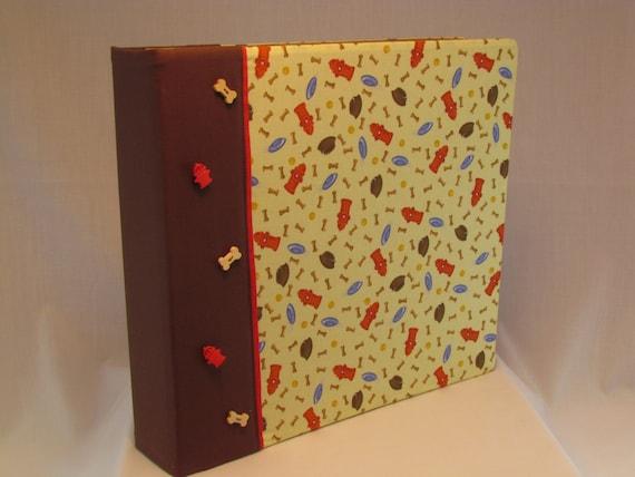 12x12 Postbound Fabric Scrapbook Photo Album Memory Book Handmade Dog Pet Puppy Mutt Park Fire Hydrant Food Bowl AO63 Album Outfitters