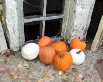 7 Fairy Pumpkins Fairy Garden in Orange and White, fairy Halloween, miniature pumpkins, Halloween pumpkins, Dollhouse Pumpkins
