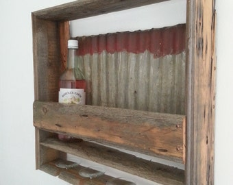 vintage rustic reclaimed barn wood old tin roof wine rack glass holder