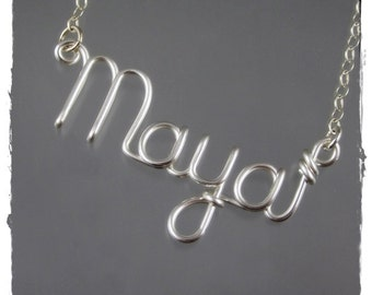Maya Wire Word Name Pendant Necklace