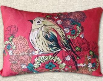 Custom pillow cover - BEAUTIFUL BIRD in the HYDRANGEAS