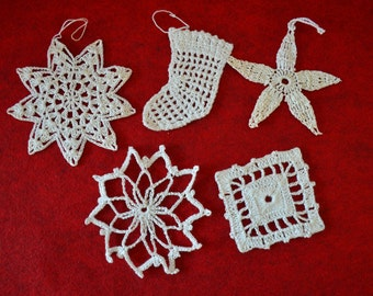 Vintage Handmade White Crochet Ornaments (Lot 3)