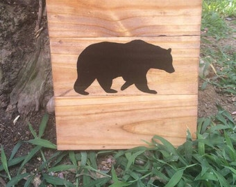 Bear silhouette pallet sign  rustic hunting