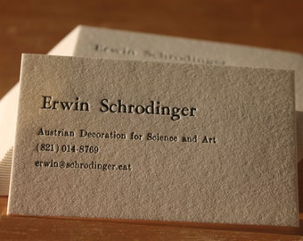 100 Letterpress  Business Cards Hand Printed on Single Ply 110 Crane's Lettra