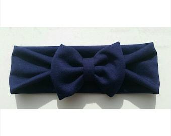 Navy Blue Jersey Knit Headband Head wrap with bow. Baby headband, baby headbands, soft baby headband